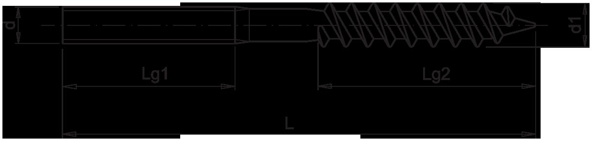 Саморез с комбинированной резьбой